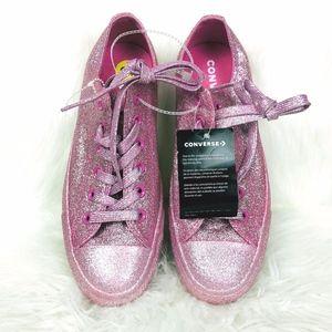 New Pink Glitter Low Top Converse Sz 9